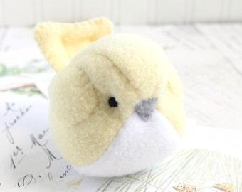 Pastel Yellow Fleece Bird Stuffed Animal Childrens Handmade Plush Toy Cute Fat Bird