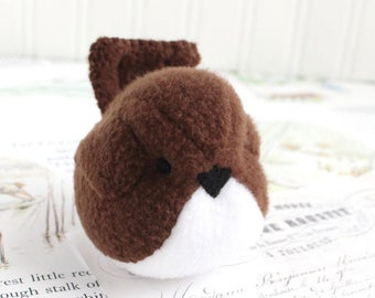 Handmade Bird Stuffed Animal Brown Plush Bird Fleece Bird Stuffed Toy