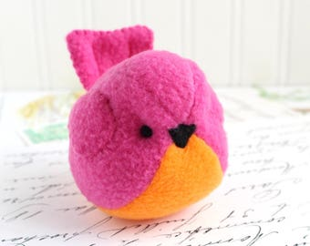 Pink and Orange Plush Bird Stuffed Animal Childrens Handmade Fleece Bird