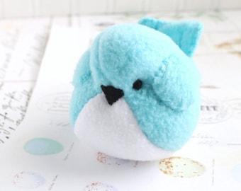 Aqua Blue Fleece Bird Handmade Stuffed Animal Turquoise Plush Bird Bluebird Stuffed Animal
