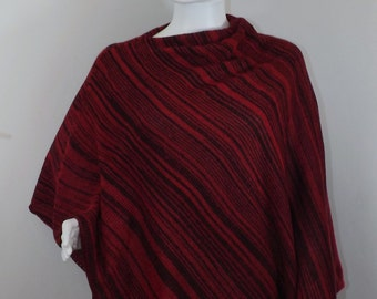 Handmade Knit Poncho - Black and Red Random Stripes