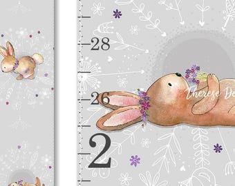 Bunny Growth Chart, Canvas Growth Chart, Rabbit Nursery Decor, Floral Growth Chart, Woodland Decor, Height Chart, Shabby Chic Nursery Art