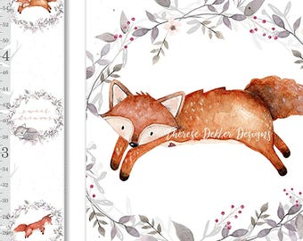 Fox Growth Chart, Canvas Growth Chart, Woodland Animals Growth Chart, Floral Growth Chart, Woodland Decor, Height Chart, Personalized Chart