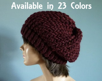 Slouchy Hat, Slouch Hat, Knit Hat, Winter Hat, Womens Hat, Available in Red, Orange, Yellow, Green, Blue, Purple, Pink, Black, Grey