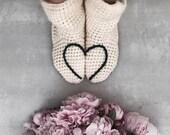 Slipper Socks, Love Heart Design, Gray, Navy Blue, Red, Plum, Black, Teal, Valentine, Christmas, Mother's Day, Handmade, Crochet