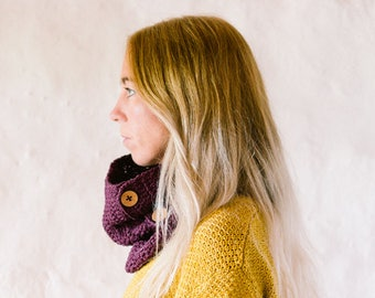 Cowl Scarf With Buttons In Organic Cotton Crochet