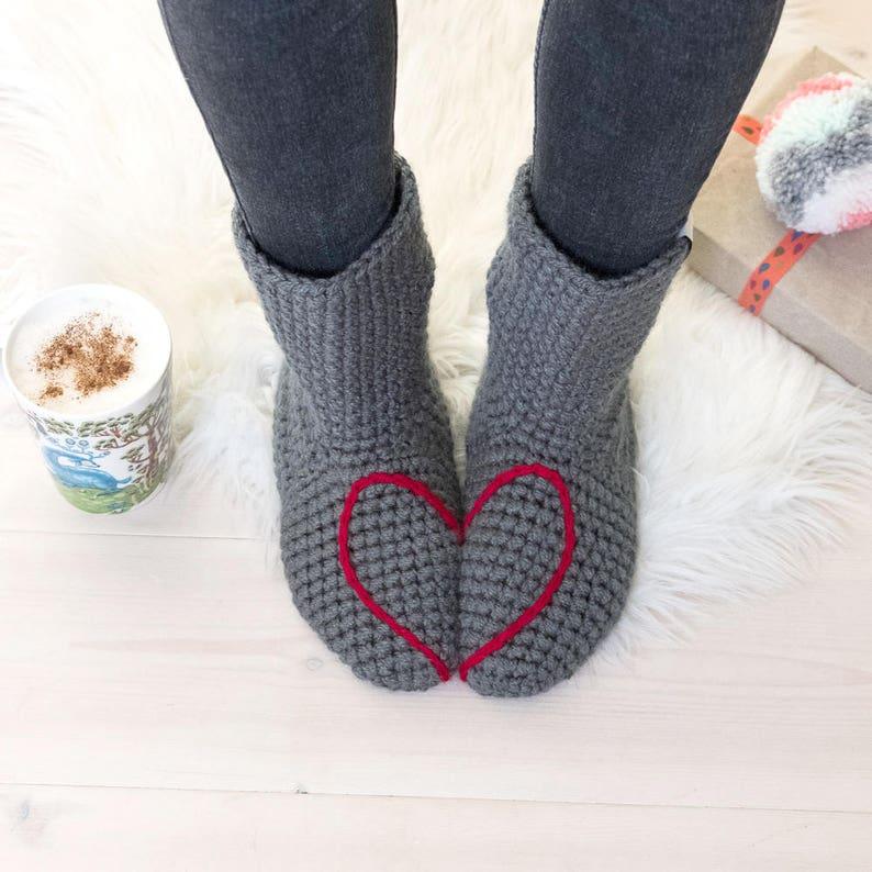 Slipper Socks Love Heart Design Gray Navy Blue Red Plum Grey -red heart