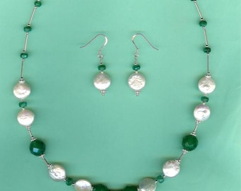 NECKLACE SET Banded Green Agate, Emerald, Coin Pearls Sterling Drop Set