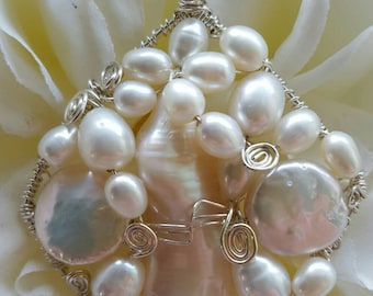PENDANT Pearl Wire wrapped Sterling silver Diamond Pendant