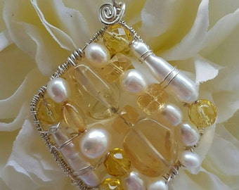 PENDANT Citrine Pearl Wire wrapped Sterling silver Square Pendant