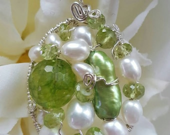 PENDANT Peridot Pearl Wire wrapped Sterling Silver Oval Pendant
