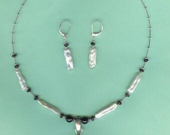 NECKLACE SET  Stick Freshwater Pearls, Garnet Sterling Silver Drop Set