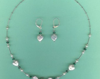 NECKLACE SET Emerald Heart Pendant, Heart Coin Pearls Sterling Silver Drop Set