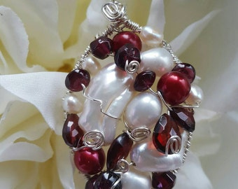 PENDANT Garnet Pearl Wire wrapped Sterling Silver Oval Pendant