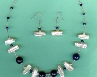 NECKLACE SET Blue Agate, Sapphire, Cultured Freshwater Stick Pearls Sterling Silver Set