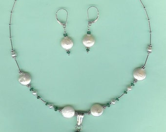 NECKLACE SET Emerald Pendant, Freshwater Coin Pearls Sterling Silver Drop Set