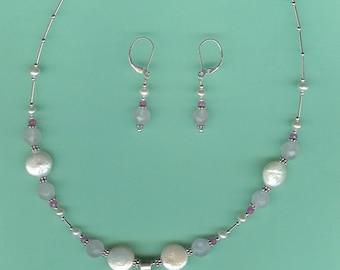 NECKLACE SET Ruby, Pink Sapphires, Rose Quartz, Pearls Sterling Silver Drop Set