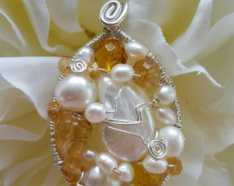 PENDANT Citrine Pearl Wire wrapped Sterling Silver Oval Pendant