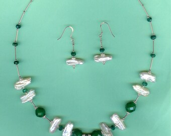 NECKLACE SET Banded Green Agate, Emerald, Stick Pearls Sterling Silver Drop Set