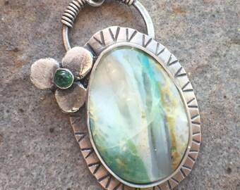 Emerald Variscite Sterling Silver Flower Necklace