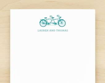 tandem personalized notepad couples engagement wedding valentine bicycle
