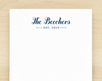 established personalized notepad custom letterhead couples wedding