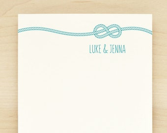 KNOT Personalized Notepad - Nautical Wedding Couples Engagement
