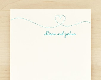 SMITTEN Personalized Notepad - Couples Wedding Heart Engagement Custom Letterhead