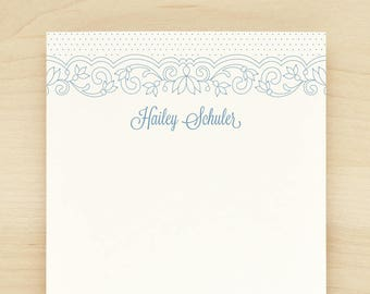 LACE Personalized Notepad - Pretty Feminine Custom Letterhead