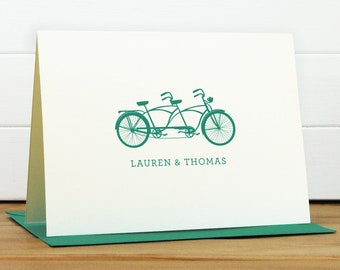 Personalized Stationery Set / Personalized Stationary Set - TANDEM Custom Personalized Note Card Set - Bicycle Couples Wedding Engagement