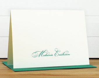 Personalized Stationery Set / Personalized Stationary Set - FORTUNE Custom Personalized Note Card Set - Formal Feminine Script Cursive