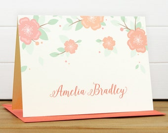 Custom Stationery / Custom Stationary - ANEMONE Custom Note Card Set - Flower Feminine Pretty