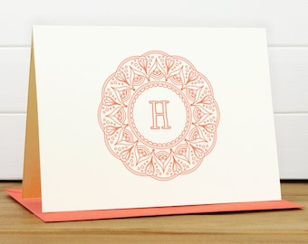 Personalized Stationery Set / Personalized Stationary Set - MANDALA Custom Personalized Note Card Set - Feminine Frame Monogram