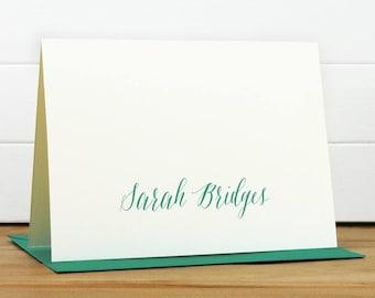 Personalized Stationery Set / Personalized Stationary Set - SCRIPT Custom Personalized Note Card Set - Feminine Calligraphy