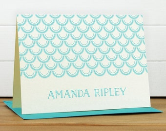 Personalized Stationery Set / Personalized Stationary Set - CRESCENT Custom Personalized Note Card Set - Modern