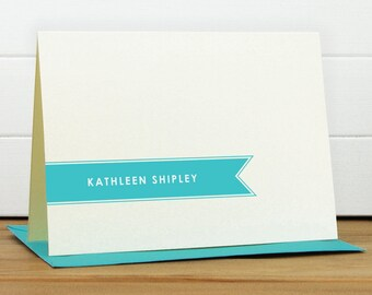 Personalized Stationery Set / Personalized Stationary Set - BANNER Custom Personalized Notecard Set - Modern Simple Masculine