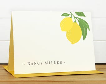 Custom Stationery / Custom Stationary - LIMONE Custom Note Card Set - Lemon Pretty Vintage