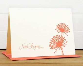 Personalized Stationery Set / Personalized Stationary Set - BLOOM Custom Personalized Note Card Set - Floral Silhouette Pretty Feminine