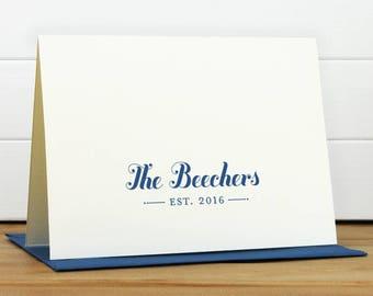ESTABLISHED Personalized Stationery Set - Personalized Stationary Set - Custom Personalized Notecard Set - Couples Wedding Anniversary Gift