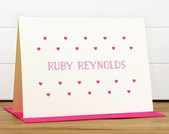 Personalized Stationery Set / Personalized Stationary Set - CRUSH Custom Personalized Note Card Set - Cute Heart Kids Stationery