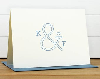 Personalized Stationery Set / Personalized Stationary Set - AMPERSAND Custom Personalized Note Card Set - Wedding Thank You Engagement