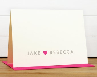 ADORE Personalized Stationery Set - Personalized Stationary Set - Custom Personalized Notecard Set - Heart Love Couples Bridal Shower Gift