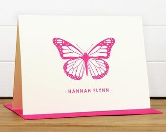 Personalized Stationery Set - MONARCH Custom Note Card - Butterfly Kids Stationery