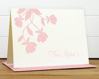 BLOSSOM Personalized Stationery Set - Personalized Stationary Set - Custom Personalized Notecard Set - Flower Pink Pretty Feminine Gift