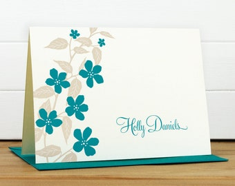 Personalized Stationery Set / Personalized Stationary Set - FLORA Custom Personalized Notecard Set - Flower Feminine Pretty Cute