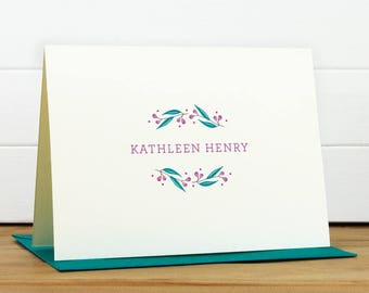 Personalized Stationery Set / Personalized Stationary Set - FROLIC [PEACOCK COLORWAY] Custom Personalized Note Card Set - Flower Thank You