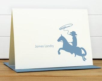 Personalized Stationery Set / Personalized Stationary Set - COWBOY Custom Personalized Note Card Set - Kids Stationery Boy New Baby