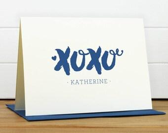 Personalized Stationery Set / Personalized Stationary Set - XOXO Custom Personalized Note Card Set - Feminine Girl Heart