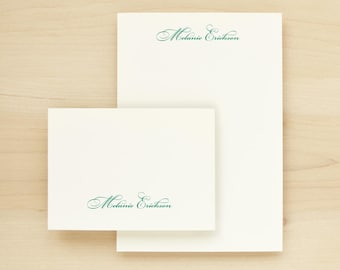 FORTUNE Custom Stationery + Notepad Bundle - Custom Stationary Notecards Personalized - Formal Script Calligraphy Professional Business