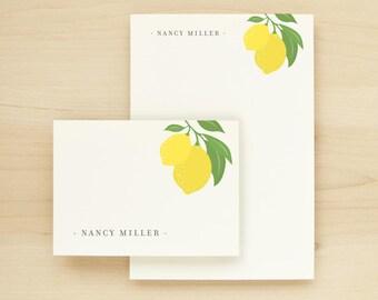 LIMONE Custom Stationery + Notepad Bundle - Custom Stationary Notecards Personalized - Lemon Vintage Feminine Pretty Cute